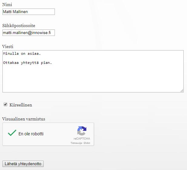 Innowise CMS -julkaisujärjestelmällä tehty lomake www-sivustolla