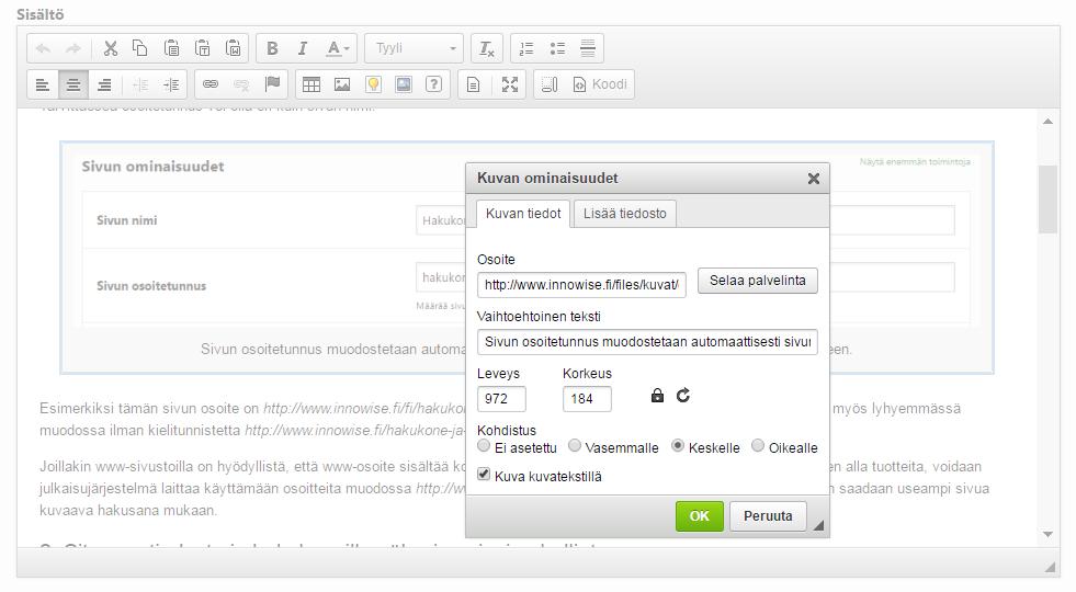 Julkaisujärjestelmässä voit antaa vaihtoehtoisen tekstin suoraan kuvan lisäämisen yhteydessä.